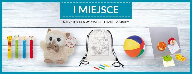Każde dziecko z grupy przedszkolnej, która zajmie I miejsce otrzyma maskotkę, piłkę, worek do malowania, zakładkę do książek oraz klips z magnesem.