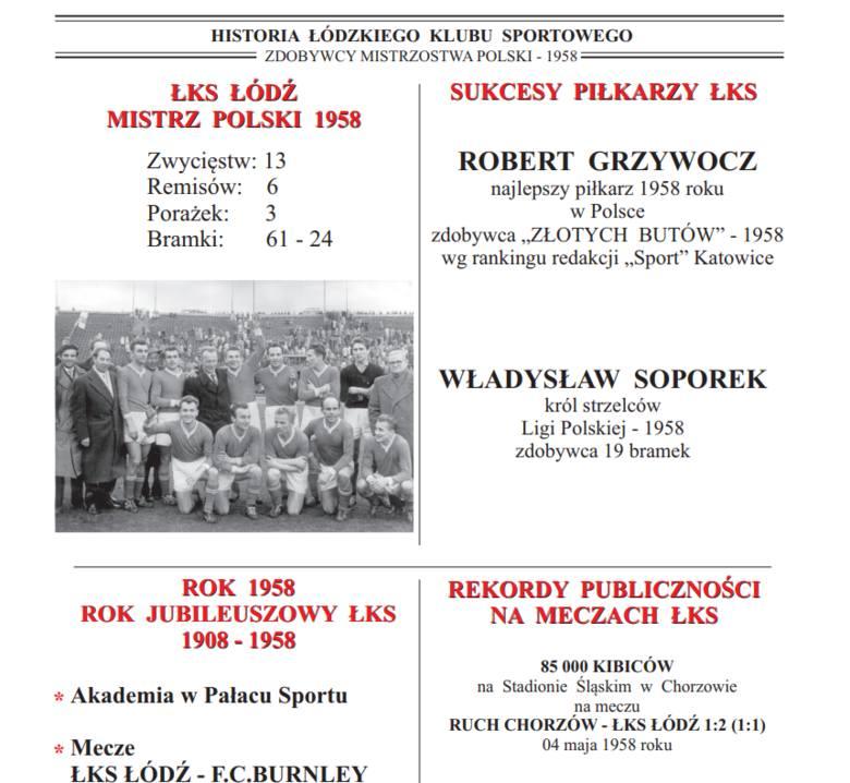 "Historia ŁKS.  Kolejna książka Jacka Bogusiaka ""Mistrzowski rok 1958"""