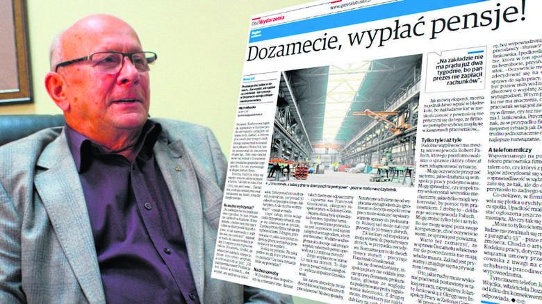 """Artykuł o problemach w nowosolskim Dozamecie, do którego odnosi się w swoim liście prezes Zbigniew Haczkowski, opublikowaliśmy na łamach magazynu """"GL"""","""
