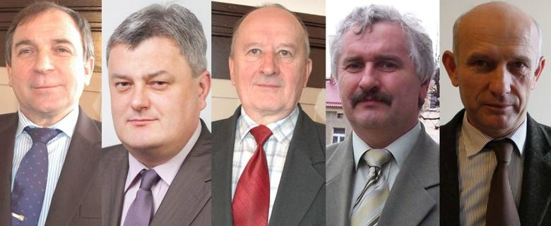 Kandydaci na burmistrza Praszki, od lewej: Leszek Kałwak, Zbigniew Kitajgrodzki, Henryk Krześniak, Bogusław Łazik, Jarosław Tkaczyński.