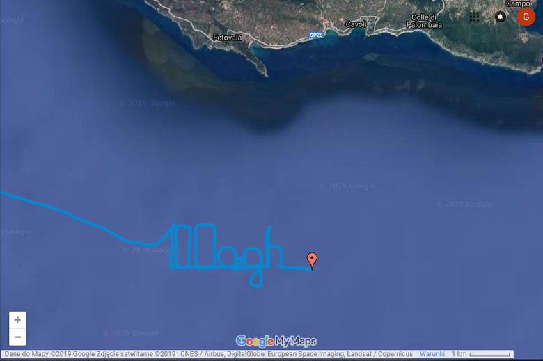 """Gigantyczny napis """"100 AGH"""" wykonany na morzu przez żaglowiec szkoleniowy STS Pogoria"""