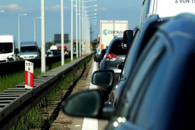 Korek na autostradzie A4 pod Wrocławiem.