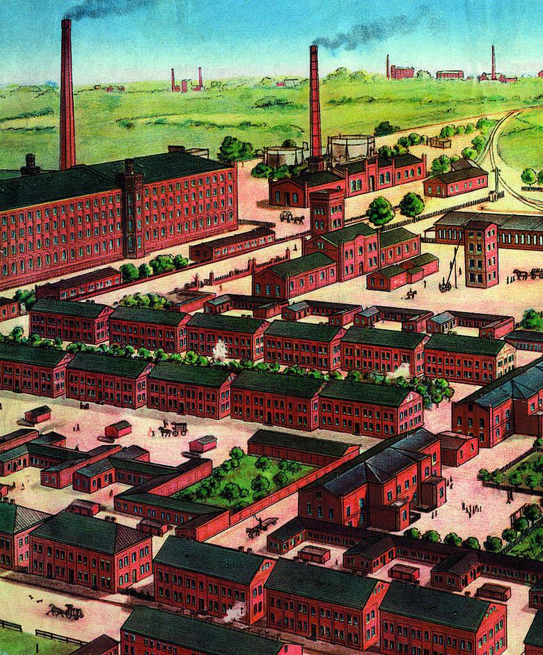 Wielki kompleks fabryczny to krajobraz XIX-wiecznej Łodzi.