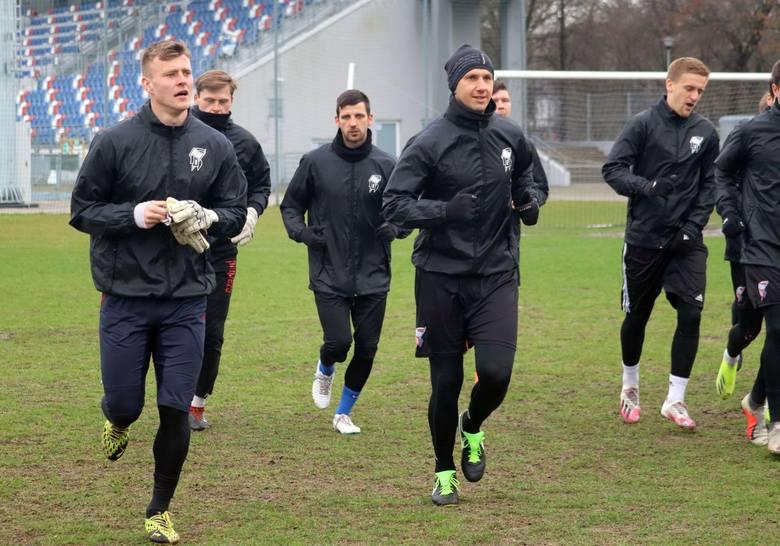 Piłkarze Broni na czwartkowym treningu