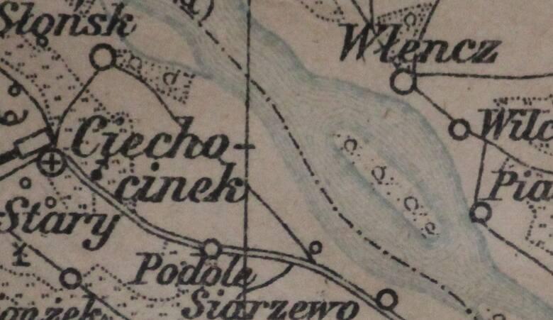 Na kujawskim brzegu Wisły widzimy Ciechocinek, na dobrzyńskim - Włęcz, wtedy wieś dużą i bogatą. Pomiędzy nimi znajduje się natomiast Zielona Kępa.