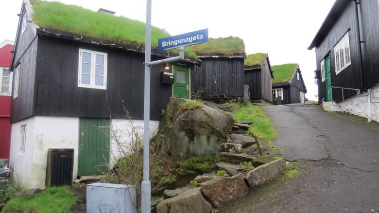Wyspy Owcze. Domy pokryte trawą.