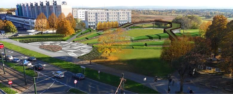Kraków. Łączka Nowohucka to teren pomiędzy Placem Centralnym, Nowohuckim Centrum Kultury a Łąkami Nowohuckimi. Często odwiedzany przez spacerowiczów