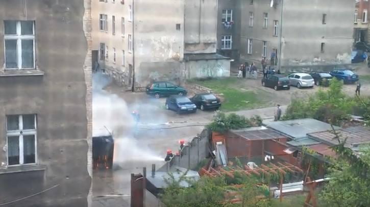 Pożar garażu przy ul. Fortecznej w Grudziądzu.