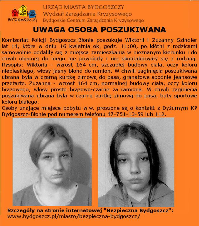 Zaginione nastolatki. 16 kwietnia wyszły z domu i do niego nie wróciły.