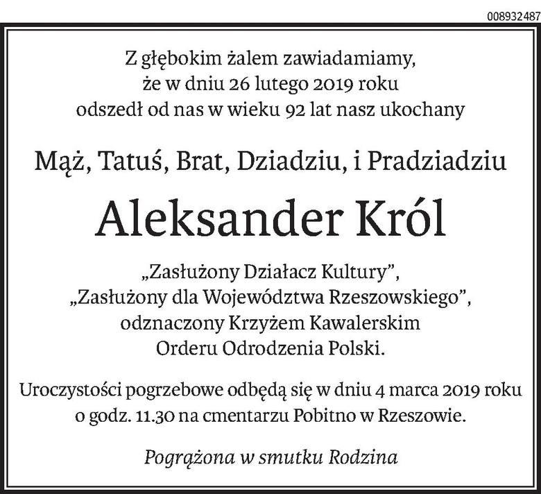 Nekrologi i kondolencje z dnia 1 marca 2019 roku