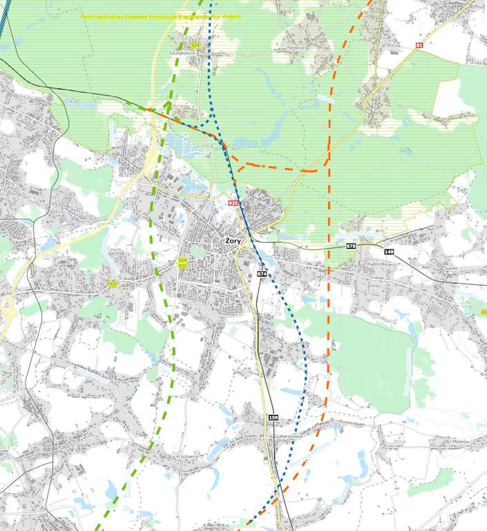 7 mln zł na projekt nowej linii kolejowej do Jastrzębia. Na mapach projektowane nowe trasy CPK