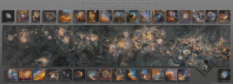 Umiejscowienie poszczególnych obiektów, takich jak mgławice. Panoramiczne, mozaikowe zdjęcie zostało złożone z 234 paneli, których łączny czas naświetlania