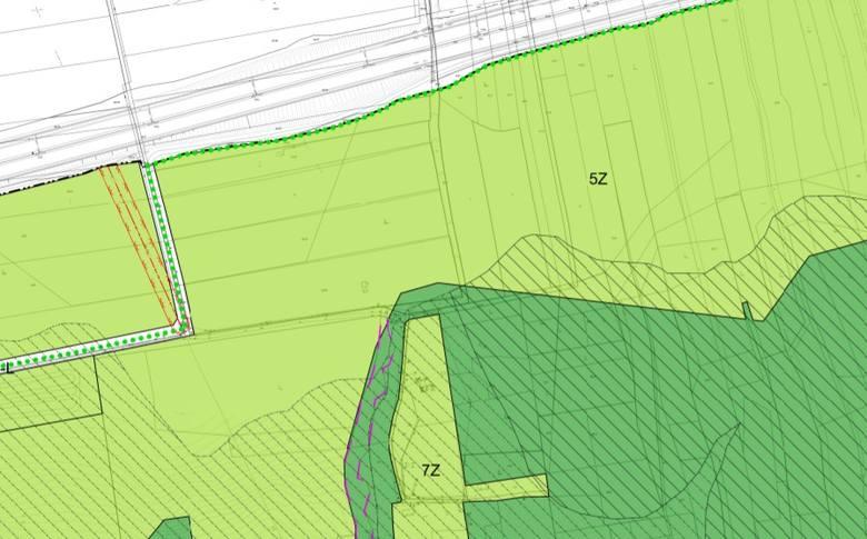 Fragment planu miejscowego. 5Z, czyli teren zielony, to rejon gdzie trwa budowa domów