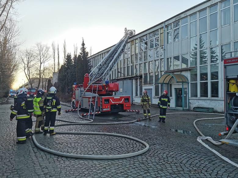 Lublin: Pożar hali produkcyjnej na Frezerów. 13 zastępów walczyło z ogniem
