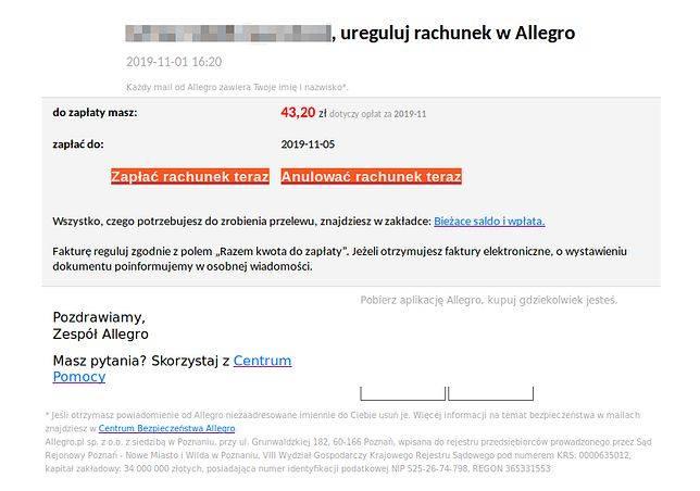 CERT Polska ostrzega przed oszustami podszywającymi się pod jeden z najpopularniejszych serwisów aukcyjnych. Mowa oczywiście o Allegro. Użytkownicy serwisu
