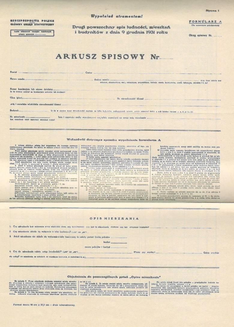 Arkusz spisowy 1931 rok