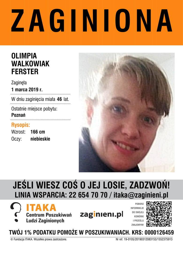 Olimpia Walkowiak FersterAktualny wiek: lat 46Wzrost: 166 cmKolor oczu: niebieskieOstatnie miejsce pobytu:Poznań