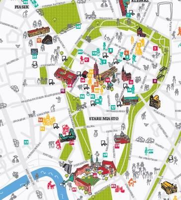 Mapa Krakowa Plakat Premium Decor Mint