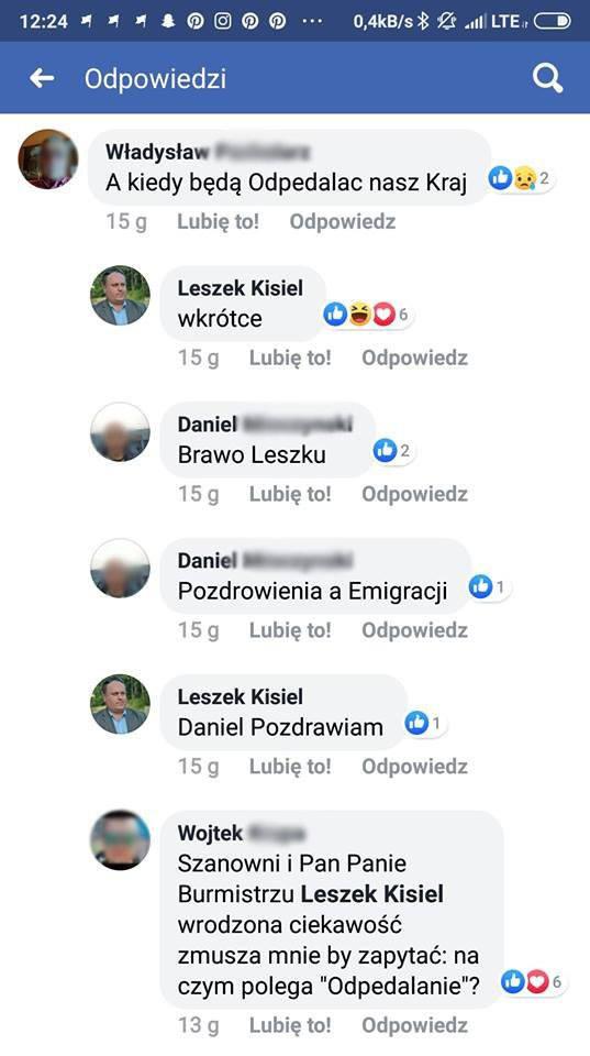 Wpisy zostały już usunięte z facebooka.