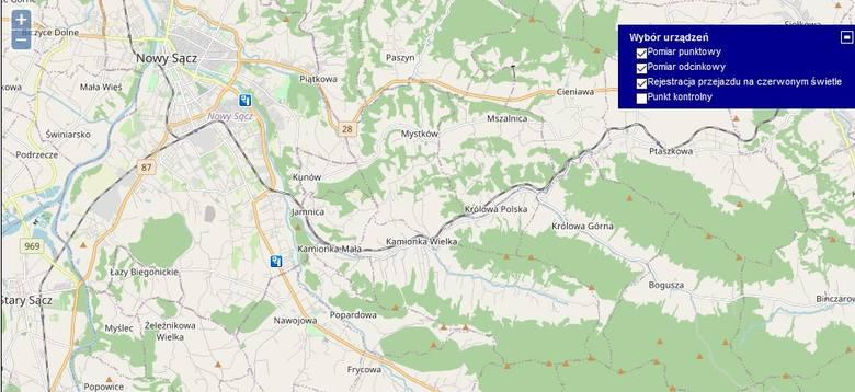 Nowy Sącz, DK 75Pomiar punktowy wykroczeń: 488 średnia wysokość łączna mandatów: 73 200 złKamionka Wielka,  DK 75Pomiar punktowy wykroczeń: 1562średnia