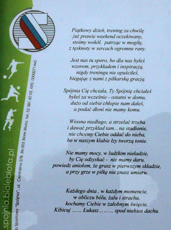 Pogrzeb łukasza Leśniarka 18 Letniego Piłkarza Spójni Białe