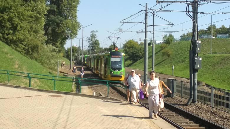 """Tramwaje zatrzymywały się przed przystankiem PST """"Słowiańska""""."""