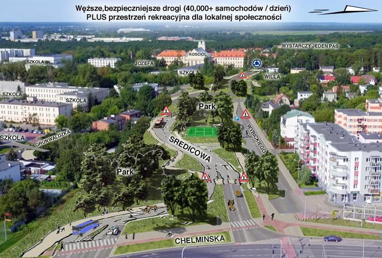 Szkic architekta pokazuje również kontekst drogi: liczne szkoły, zieleń i  ogród willi na rogu św. Józefa i Grunwaldzkiej<br />