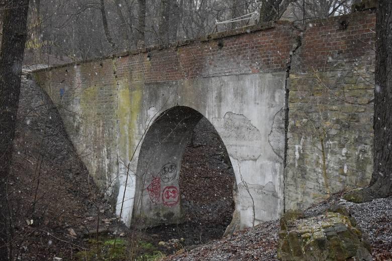 Niszczejący, zabytkowy akwedukt w Przemyślu.