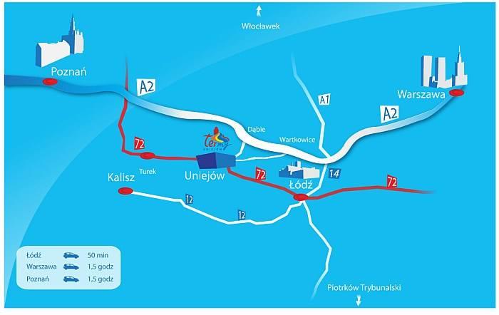 mapa dojazdu do Term Uniejów