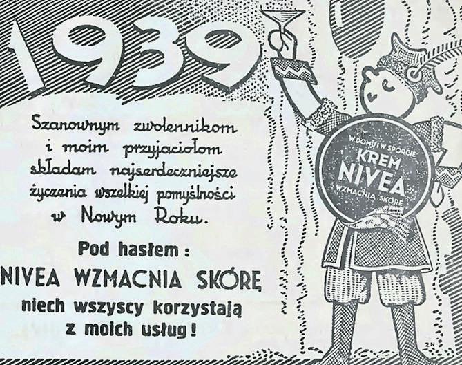 """Reklama kremu Nivea zamieszczona wraz z życzeniami w noworocznym wydaniu """"Słowa Pomorskiego"""" z 1939 roku<br />"""