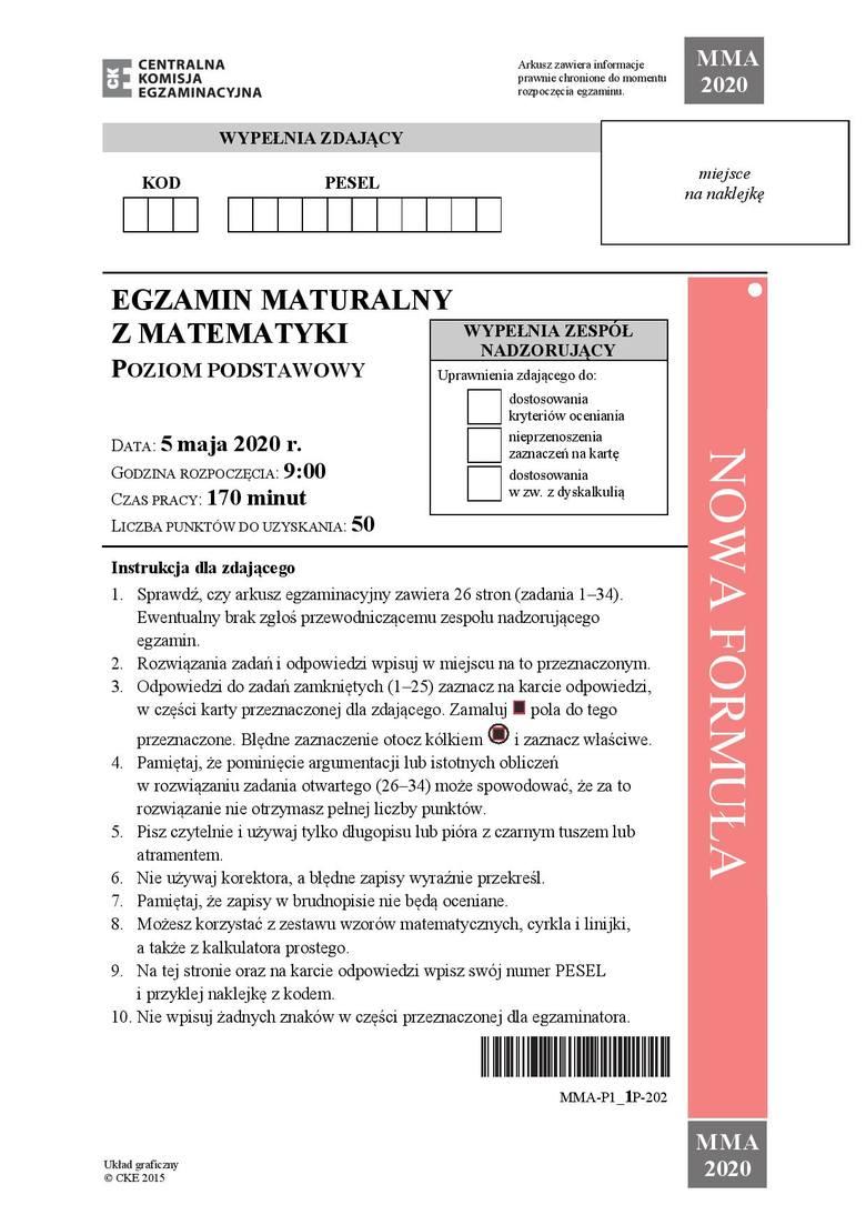 Zobacz zadania i odpowiedzi do arkusza z matury 2020 z matematyki na poziomie podstawowym. Uwaga, nasi eksperci na bieżąco dodają odpowiedzi i rozwiązania