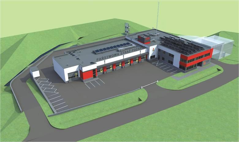 Tak ma wyglądać nowa siedziba Państwowej Straży Pożarnej w Wieliczce. Jednak wciąż nie ma 23 mln zł potrzebnych na budowę obiektu