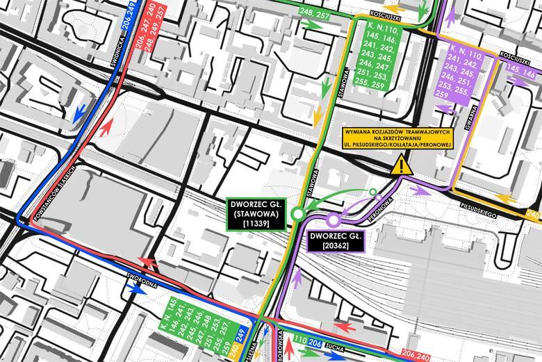 Wrocław. Od soboty zamknięte dwa duże skrzyżowania w centrum. Autobusy i tramwaje zmieniają trasy
