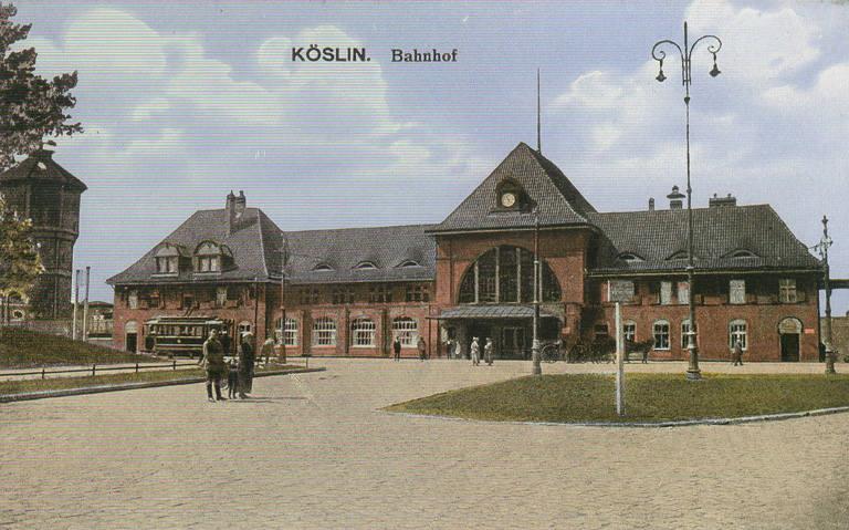 Piękny i stylowy drugi koszaliński dworzec. Został zbombardowany w 1945 roku.