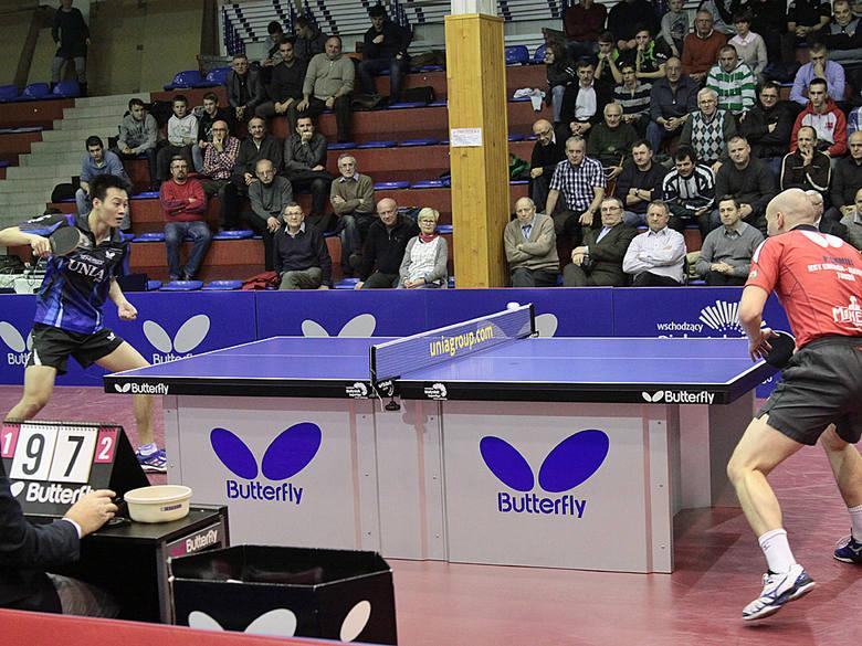Tenis stołowy. Olimpia Unia pokonała Energę ManekiWang Yang (Olimpia/Unia, z lewej) i Paweł Chmiel