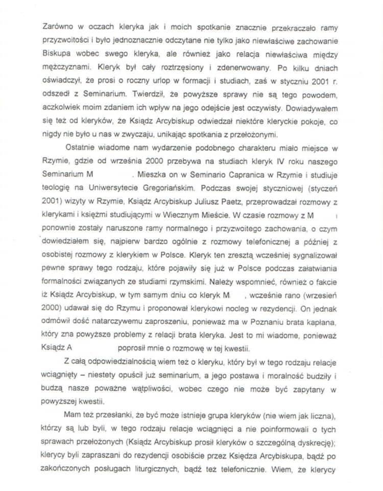 W 2001 roku ksiądz Tadeusz Karkosz, ówczesny rektor poznańskiego seminarium duchownego, napisał list. Pismo trafiło do papieża Jana Pawła II i dopiero wtedy Kościół na poważnie zajął się sprawą abpa Juliusza Paetza. Wcześniej, jak wynika z wypowiedzi różnych księdza, wysocy ranga hierarchowie...