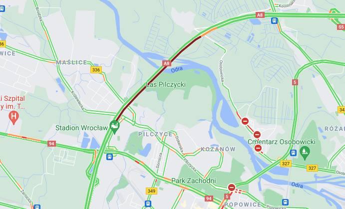 Wypadek lawety na Autostradowej Obwodnicy Wrocławia