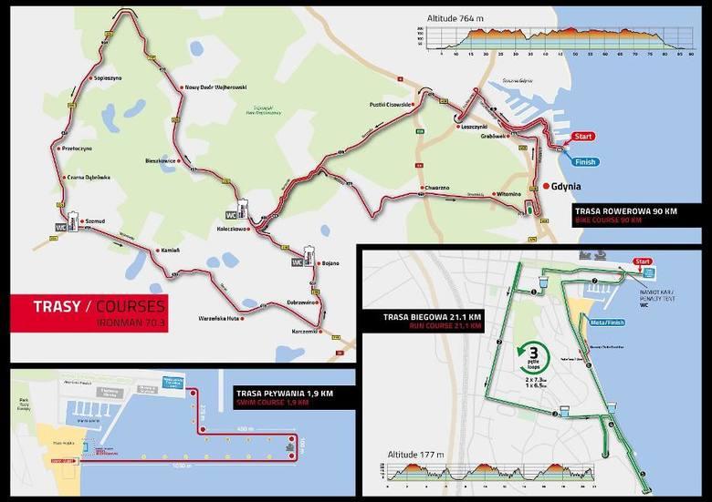 Enea IRONMAN 70.3 Gdynia 2019. Trasa kolarska i biegowa. Utrudnienia w ruchu, zamknięte ulice, zmiany w komunikacji miejskiej w Gdyni