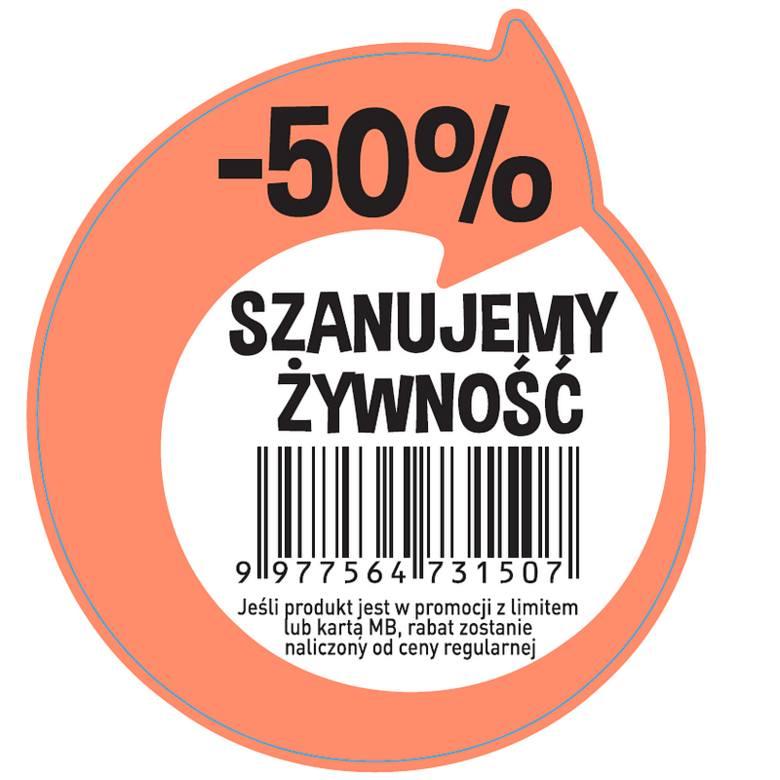 """Taką nakleją """"-50% Szanujemy Żywność"""" będą oznaczone w Biedronkach przecenione produkty"""