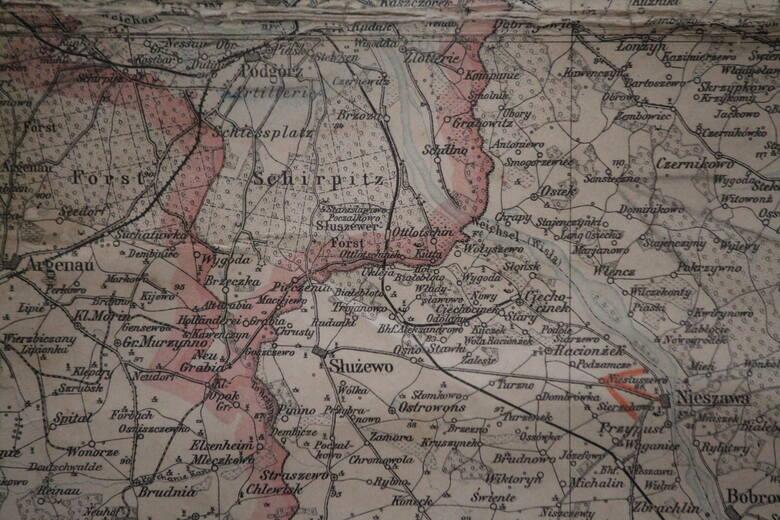 Kujawski odcinek dawnej granicy między zaborami na mapie z 1902 roku