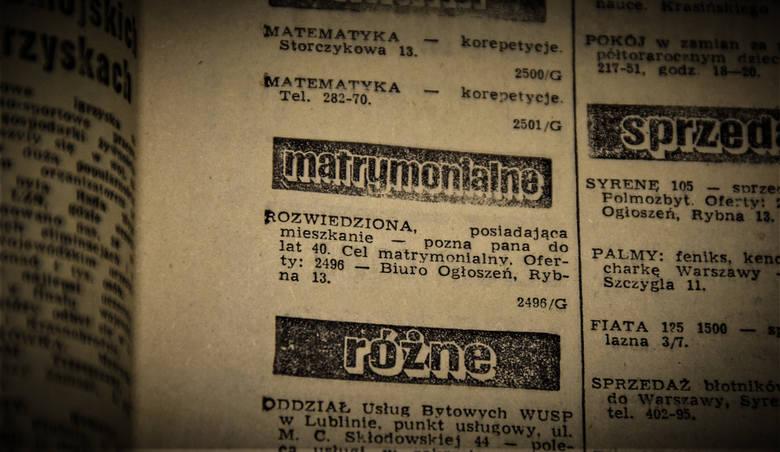 Ogłoszenie matrymonialne z archiwalnego wydania Kuriera Lubelskiego