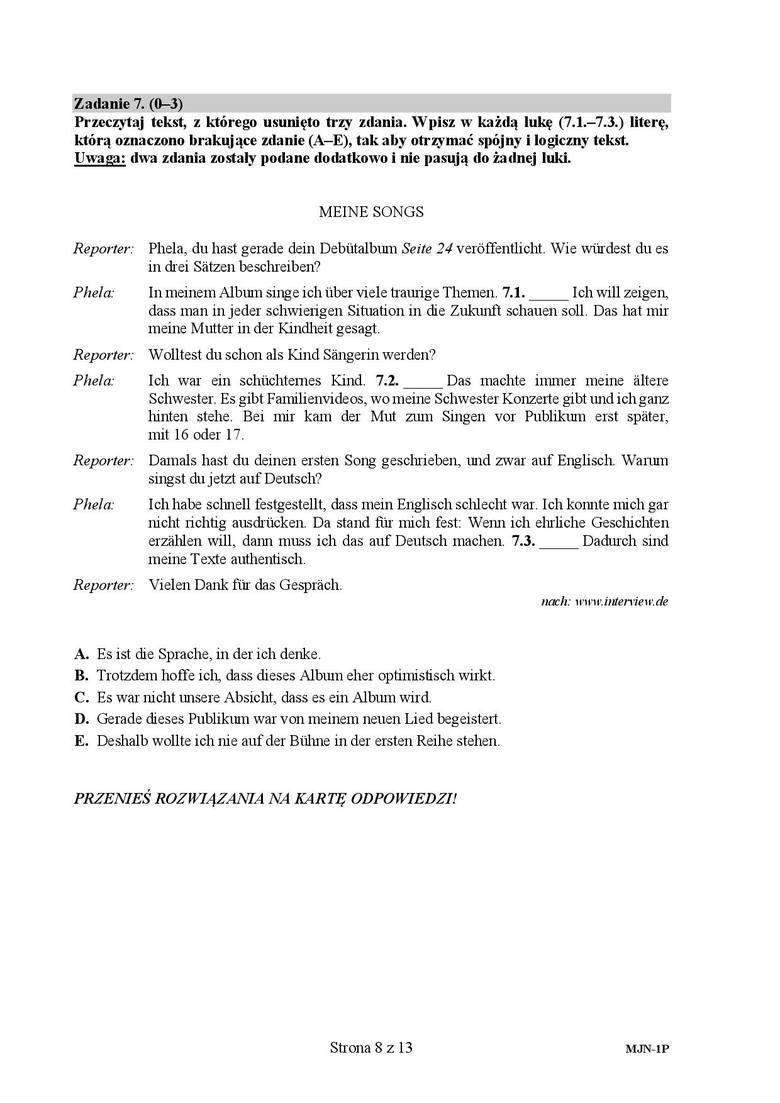 Matura 2019: Język niemiecki poziom podstawowy. ARKUSZ CKE, ODPOWIEDZI. Matura z języka niemieckiego podstawa. Co było? [14.05.2019]