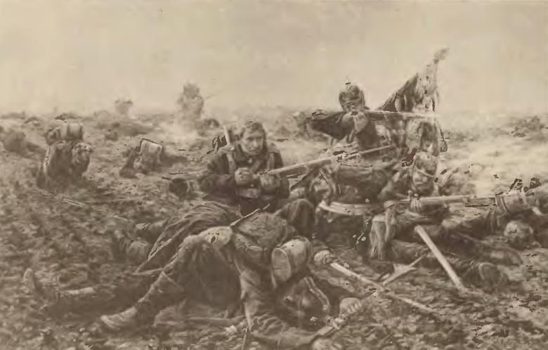 """Żołnierze 61 pułku piechoty bronią sztandaru pod Dijon. O tym właśnie pisała """"Gazeta Toruńska"""" w dzień 50. rocznicy śmieci cesarza."""