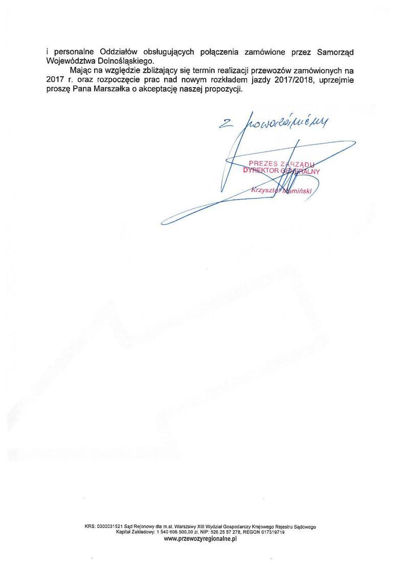 Z dokumentów opublikowanych przez urząd marszałkowski wynika, że to sam Krzysztof Mamiński, prezes spółki zaproponował samorządowi, że w tym roku będzie