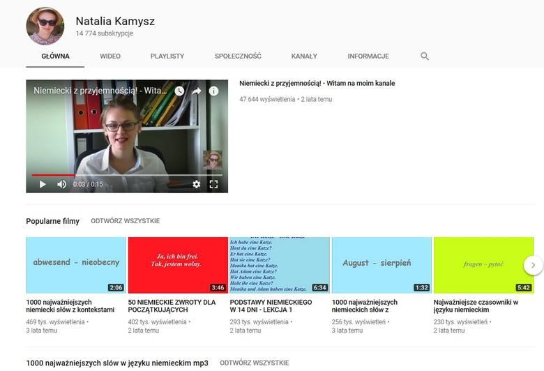 """Natalia Kamysz i jej kanał """"Niemiecki z przyjemnością""""www.youtube.com/channel/UC5InDoY1Tq8H-_UbcbAUfZgW swoich popularnych filmikach"""