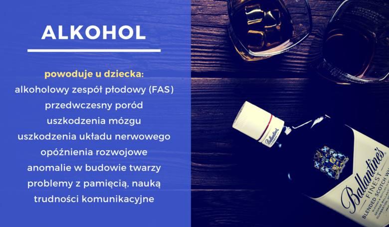 Alkohol powoduje u dziecka: alkoholowy zespół płodowy (FAS), przedwczesny poród, uszkodzenia mózgu, uszkodzenia układu nerwowego, opóźnienia rozwojowe,