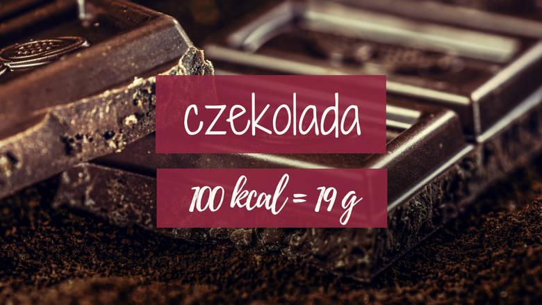 19 g czekolady mlecznej to już 100 kalorii. A to tylko jeden rządek!