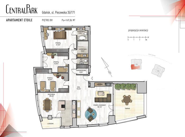 """<strong>Etoile</strong><br /> <br /> <strong>Ekskluzywny, 4- pokojowy apartament """"Etolile"""" o powierzchni prawie 150 metrów kwadratowych,, przepięknie doświetlony słonecznym światłem. </strong><br /> <br /> Zaprojektowano tu:<br /> 40-metrowy salon z wyjściem na obszerny taras o powierzchni 28 m2, z którego..."""