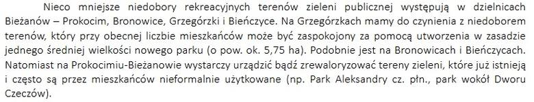 Fragment dokumentu o zieleni w Krakowie