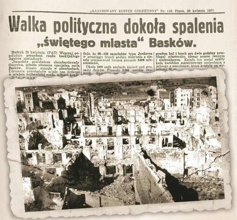 """Z kart historii: barbarzyńskie bombardowanie Guerniki. """"Święte miasto"""" Basków obrócone w gruzy"""